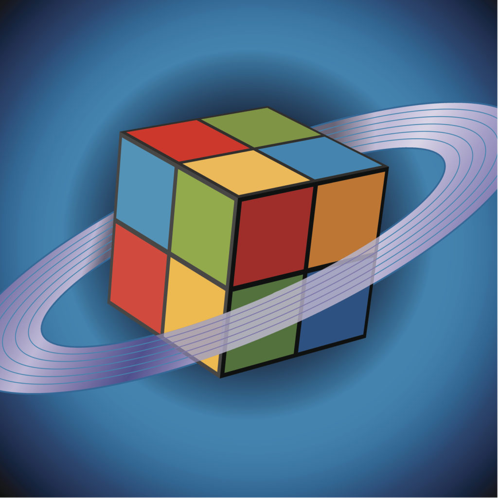 Flying Cube with Saturn Rings